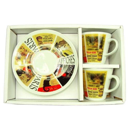 Recuerdos de Francia - 2 x Paris' de gato negro escondido entre ' tazas de café con platos de café - Color: blanco