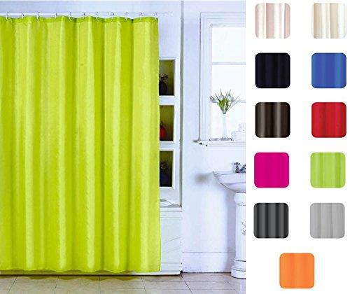 "MSV Anti-Schimmel Duschvorhang - Anti-Bakteriell, waschbar, wasserdicht, mit 12 Duschvorhangringen - Polyester, ""Grün"" 180x200cm"