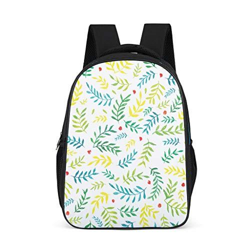 Hinfunees Zainetto verde con foglie e fiori, borsa per libri carino zaino per bambini per ragazzi, Grigio acceso., Taglia unica