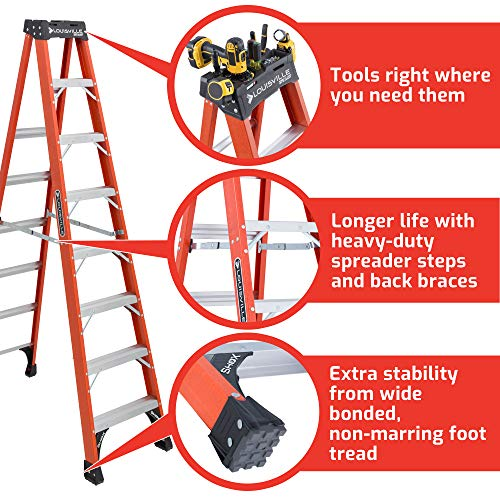 Louisville Ladder 8-Foot Fiberglass Step Ladder, 375-Pound Capacity, FS1408HD