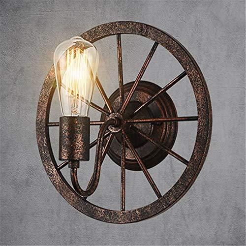 Tanktoyd Aplique de pared moderno Lámpara de pared rústica minimalista Lámpara de pared de rueda nostálgica vintage Linterna de pared industrial de hierro forjado antiguo para dormitorio Sala de estar