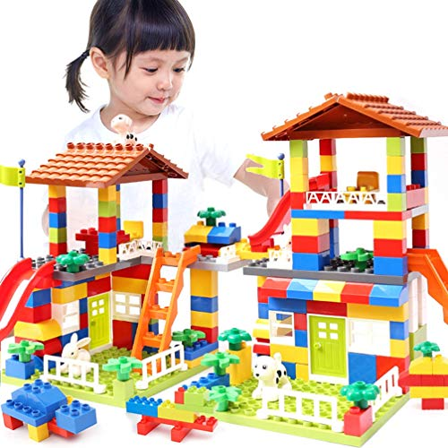 WF 178 PCS Grande Formato Building Blocks Bambini Kit, La Creatività Di DIY Monta Edilizia City Block Di Plastica per Lo Sviluppo IQ Regalo Di Compleanno Giocattoli Impilabile per Boy Girl