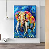 hetingyue Colorful Art Elephant Oil Painting on Canvas,
