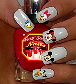 Mickey Mouse and His Friends Nail Art Decals. Clear waterslide nail art decals Set of 51 by One Stop Nails MCH-001-51