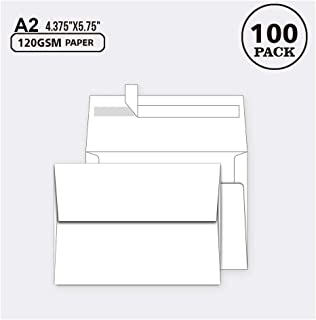 100 Pack, Size A2, White Paper Envelopes | Self Sealing Adhesive| Perfect for Weddings, RSVP, Invitations, Baby Shower,Greeting Cards,Announcements, Thank You Notes| A2(4.375 x5.75 Inches)