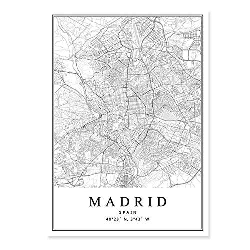 Wsxyhn Mapa de la Ciudad de España Barcelona Madrid Málaga Sevilla Valencia Zaragoza Carteles Pinturas en Lienzo Arte de la Pared Impresiones Decoración Interior del hogar-50x70cmx1pcs - Sin Marco