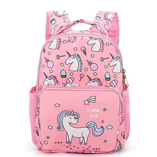 Unicorno Zaini per Bambini, Zaino per scuola materna Bambino piccolo Stampa del fumetto Zaino con tasche Rosa
