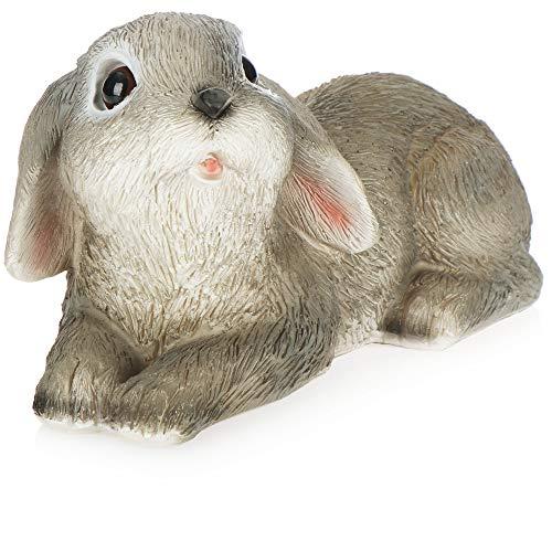 com-four® 1x Dekofigur Hase - Osterhasen aus Polyresin - Standdeko für Ostern mit detailreichen Motiven [Auswahl variiert] (1 Stück - liegend - grau braun)