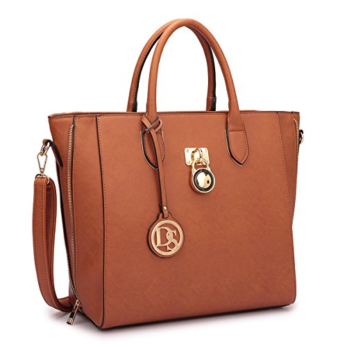 Women Large Tote Bags Designer Handbags and Purses Laptop Shoulder Bags Satchel Work Bags Vegan Leather Top Handle Bags, 3-brown Solid Color Without Wallet