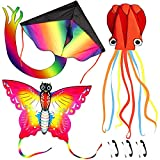 Nazano 3 Pack Kites-Large Rainbow Delta Kite Butterfly Kites Red Mollusc Octopus with Long Colorful Tail for Kids Adults Outdoor Game Activities,Beach Trip Great Gift to Boys Girls Age 3 4 5 6 and Up