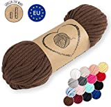 Amazinggirl Hilo Macrame 5 mm trapillo bobinas - Cuerda Algodon Cordon para Trenzado Tejer a Crochet Manualidades Marron