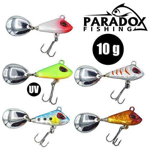 Paradox Fishing Jig Spinner 5er 10g Set Spin Jig zum Barsch Angeln Barsch Köder Zander Köder Hecht Köder Zander Set Bleikopfspinner Spinnerbait Spinnköder Spinner Jig Spin Jigs(10g)