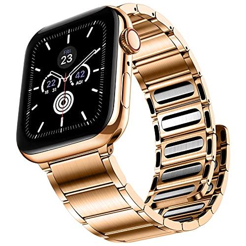 JUVEL Compatible con Apple Watch Correa 42mm 44mm, Pulsera de Enlace de Repuesto de Metal de Acero Inoxidable Magnético Fuerte Compatible con iWatch SE/iWatch Series 6 5 4 3 2 1, Oro Rosa