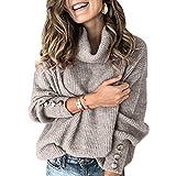 Sovelen Women's Oversized Turtleneck Chunky Pullover Sweaters Cowl Neck Long Sleeve Winter Slouchy Loose Knit Sweaters Grey