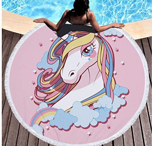 Vanzelu Leuke Cartoon Paard Gedrukt Strandhanddoek Ronde Badhanddoek Yoga Mat Park Picnic Pads Mooie Tassel Lady Sjaal Diameter 150x150cm Outdoor