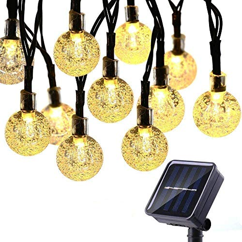 Upgrade Solar Fairy Lights Outdoor 8 Modes Memory Function Waterproof 25ft 40 LED Globe String Lights Solar Powered for Garden Patio Wedding Party Holiday (Warm White)