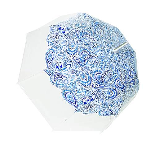 SMATI Parapluie Long - Transparent – Forme Cloche - Ouverture Automatique - 8 Baleines en Fibre de Verre - Anti-Vent - Extreme Solide (Paisley Bleu)