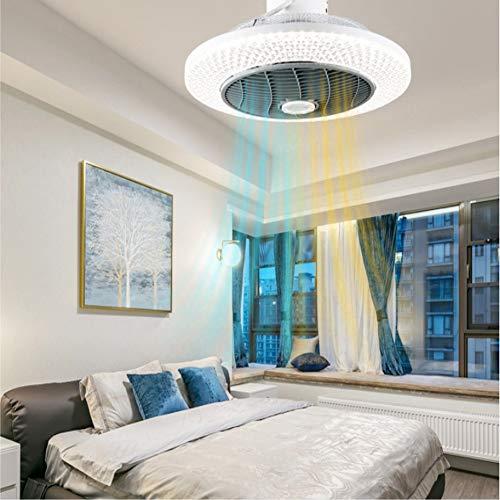 Techo Ventilador De La Lámpara, Aire Frío Y Caliente Regulable Ventilador Invisible Lámpara De Techo LED De Control Remoto Regulable Lámpara De Ventilador Ultra Silenciosa,Warm Air,220V
