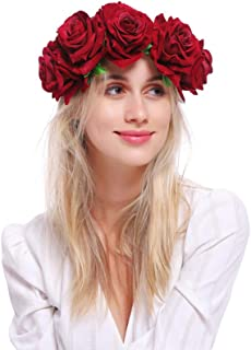Pack of 2 Rose Flower Crown Hair Garland Frida Kahlo Inspired Party Day of the Dead Festival Halloween Party Headband Headpiece,2 pcs