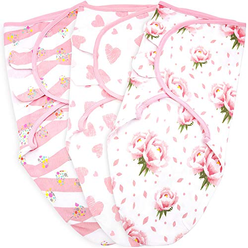 Preemie Swaddle Blanket Wrap, Up to 7 Pounds, Premature Adjustable 3 Pack Sleeping Sack, Breathable Cotton