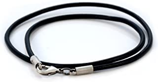 3mm (0.12 inch) Black Leather Necklace (CL7 Black) Tribal Skate Jewelry