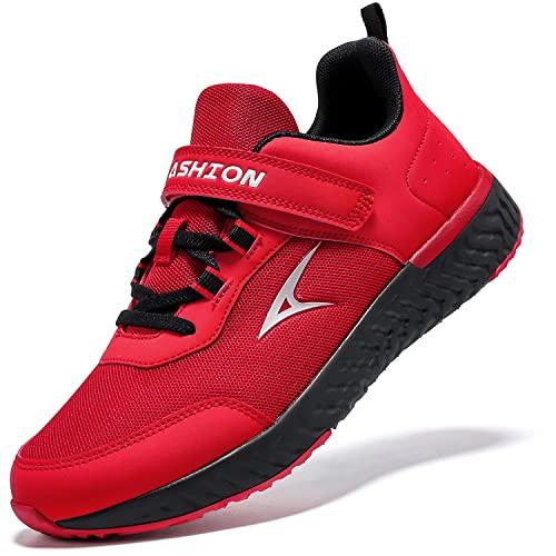 ASHION Kinder Turnschuhe Jungen Sneaker Hallenschuhe Mädchen Sportschuhe Mesh Atmungsaktiv Laufschuhe Straßenlaufschuhe für Unisex-Kinder(I Rot,38 EU)
