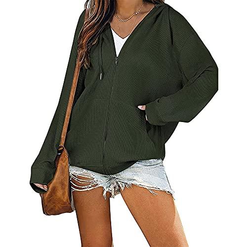 Yizc Mujeres Zip Up Sudadera,Casual Y2k Sweatshirt Suelto Manga Larga Chaleco Básica Hoodie con Bolsillos,Casual Cordón Pullover-Verde M
