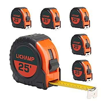 LICHAMP Tape Measure 25 ft 6 Pack Bulk Easy Read Measuring Tape Retractable with Fractions 1/8 Measurement Tape 25-Foot by 1-Inch