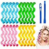 24Pcs Hair Curlers No Heat Curlers Spiral Curls Styling Kit Magic Heatless Hair Curler Wave Curlers Rolls Style with Styling Hooks for Short Hair Medium Hair 25cm