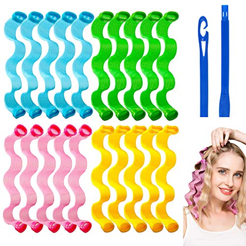 Abodhu 24Pcs Spiral Curls Wave Styles Hair Rollers...
