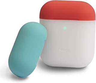 elago AirPods Duo Case [Body-Night Glow/Top-Italian Rose, Coral Blue] – Two Color Caps, No Hinge, Support Wireless Charging, Compatible with Apple AirPods 1 & 2 (Front LED Visible)