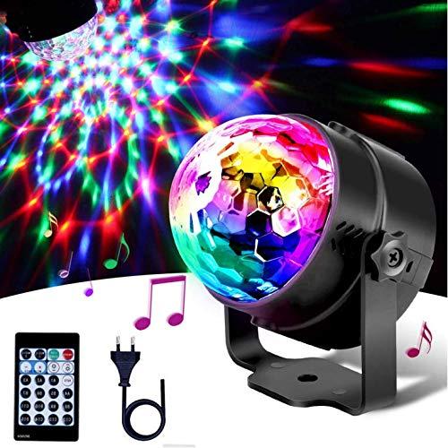 Discokugel Discolicht,Lacyie Musikgesteuert RGB Partylicht mit 15 Farben, 4 Modi und Fernbedienung,4 LEDs 9W 360° Rotierende Disko Licht für Kinder Partei Deko,Weihnachten,Halloween,Geburtstag