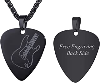 U7 Men Women Guitar Pick Necklace with Adjustable Chain Stainless Steel Music Note/Guitar/Bass Jewelry Personalized Pendant Gift, Free Custom Text Engrave