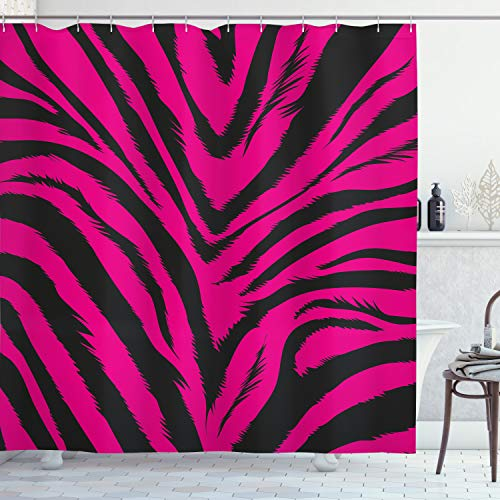 ABAKUHAUS Teen Zimmer Duschvorhang, Pink Zebra Haut, mit 12 Ringe Set Wasserdicht Stielvoll Modern Farbfest & Schimmel Resistent, 175x180 cm, Magenta & Schwarz