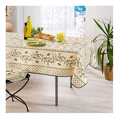 Les Jolie tafelkleed, rechthoekig, Provençal, 145 x 240 cm, 100% vuilafstotend, groene kaars, keuken, woonkamer, eetkamer, modern design