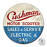 Brotherhood Cushman Motor Scooter Sales Service Electric Gas Classic Emblem Seal Reproduction Car Company Vintage Style Metal Signs Round Metal Tin Aluminum Sign Garage Home Decor