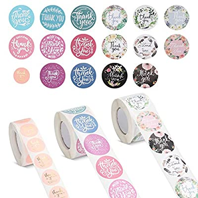 """ONEDONE Thank You Stickers Roll 1.5"""" 16 Des..."""