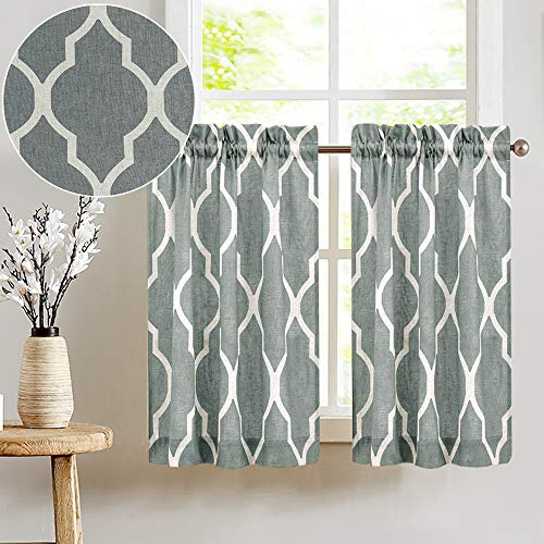Short Kitchen Window Curtains Soft Grey Moroccan Tile Print Tiers 45 inches Long Linen Textured Look Lattice Half Window Covering for Bathroom Quatrefoil Window Treatments 2 Pairs