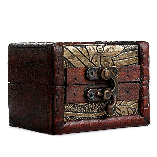 Chunlin 2pcs Set de madera pirata joyas caja de almacenamiento soporte para Vintage cofre del tesoro