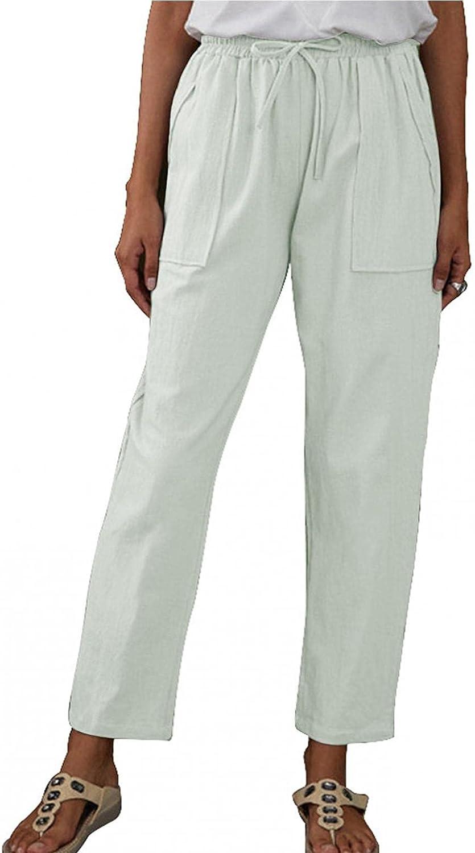 Misaky Harem Pants Big Pockets Elastic Waist Cotton And Linen Loose Casual Pants Wide Leg Pants