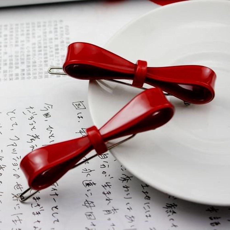 真実にレルム同様のHuaQingPiJu-JP 1Pcシンプルなエレガントなヘアクリップファッションロゼットヘッドアクセサリー(赤)