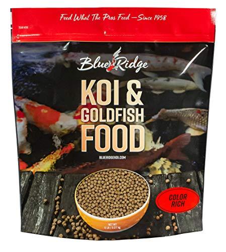 "Blue Ridge Fish Food [5lb], Color Rich Formula 3/16"" Floating Pellet, Koi and Goldfish Maryland"