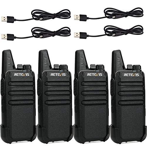 Retevis RT622 Walkie Talkie, Mini Walkie Recargable, PMR446 Licencia Libre 16 Canales, VOX Squelch CTCSS/DCS, Emergencia Walkie-Talkie con Cable Cargador USB, Adultos, Actividades (Negro, 4 Piezas)