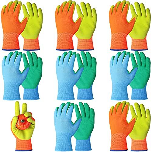 Yetene 8 Pairs Kid Rubber Gardening Gloves for Outdoor Activity (Blue, Orange,9 Years)