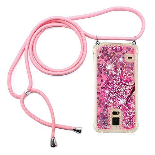Ptny Case Funda Colgante movil con Cuerda para Colgar Samsung Galaxy S5 Carcasa Correa Transparente de TPU con Cordon para Llevar en el Cuello con Ajustable Collar Cadena Cordón, Rosa