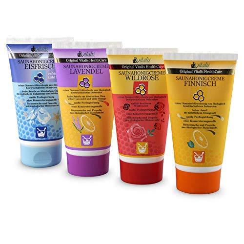 4er Set> Vitalis Saunahonigcreme 120 ml Tube Saunacreme im Set Peelingcreme Honigcreme für den Saunagang