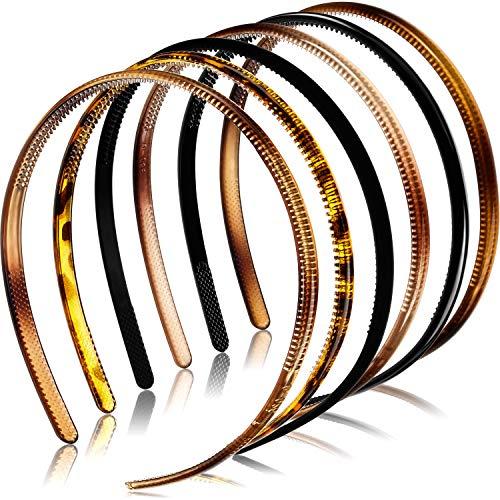 6 Stücke Kunststoff Einfach Stirnbänder Zähne Kamm Stirnbänder Dünne DIY Haarbänder Stirnbänder für Frauen Mädchen (8 mm, Mehrfarbig)