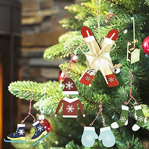 IGRMVIN 6 Stück Weihnacht Weihnachtsbaumschmuck Holzanhänger Deko Winter Weihnachtsanhänger Christbaumschmuck Holz Wintersport Schlitten Socken Handschuhe Skier Pulli Mütze für Weihnacht Baumschmuck