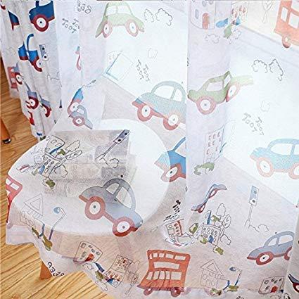 adaada Vorhänge Für Kleine Fenster,Vorhänge Auto Kinderzimmer,Vorhänge Kinderzimmer,2er Set (140X120cm, Tüllvorhänge)