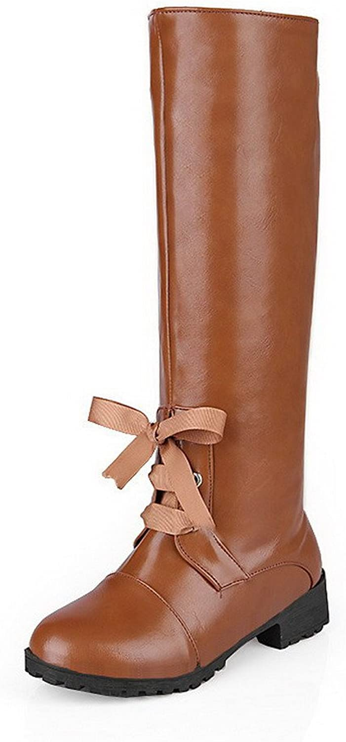 WeenFashion Women's Soft Material Pull-On Round Closed Toe Low-Heels High-Top Boots